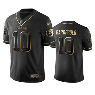 Men's 49ers #10 Jimmy Garoppolo Black Stitched Football Limited Golden Edition Jersey