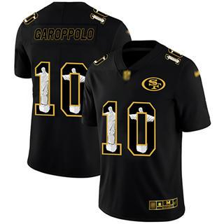 Men's 49ers #10 Jimmy Garoppolo Black Stitched Football Limited Jesus Faith Jersey