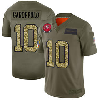 Men's 49ers #10 Jimmy Garoppolo Olive Camo Stitched Football Limited 2019 Salute To Service Jersey