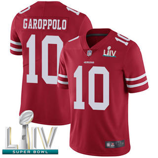 Men's 49ers #10 Jimmy Garoppolo Red Team Color Super Bowl LIV Bound Stitched Football Vapor Untouchable Limited Jersey