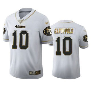 Men's 49ers #10 Jimmy Garoppolo White Stitched Football Limited Golden Edition Jersey