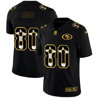 Men's 49ers #80 Jerry Rice Black Stitched Football Limited Jesus Faith Jersey