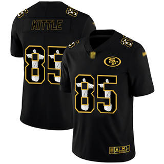 Men's 49ers #85 George Kittle Black Stitched Football Limited Jesus Faith Jersey