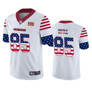 Men's 49ers #85 George Kittle White Stitched Football Limited Independence Day Jersey