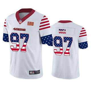 Men's 49ers #97 Nick Bosa White Stitched Football Limited Independence Day Jersey