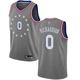Men's 76ers #0 Josh Richardson Gray Basketball Swingman City Edition 2018-19 Jersey