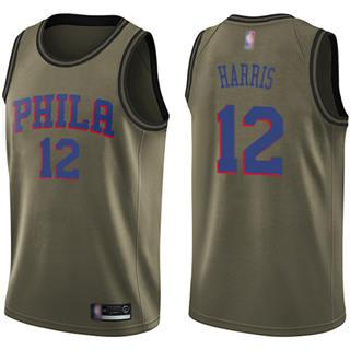 Men's 76ers #12 Tobias Harris Green Basketball Swingman Salute to Service Jersey