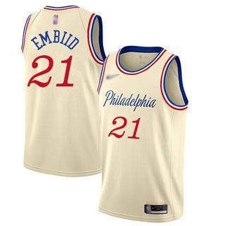 Men's 76ers #21 Joel Embiid Cream Basketball Swingman City Edition 2019-2020 Jersey