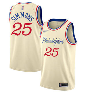 Men's 76ers #25 Ben Simmons Cream Basketball Swingman City Edition 2019-2020 Jersey
