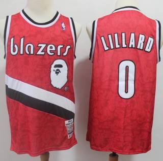Men's A Bathing Ape Blazers #0 Damian Lillard Red Stitched Basketball Jersey