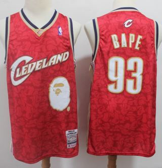 Men's A Bathing Ape Cavaliers #93 Bape Red Stitched Basketball Jersey