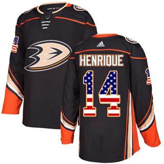 Men's  Anaheim Ducks #14 Adam Henrique Black Home  USA Flag Stitched Hockey Jersey