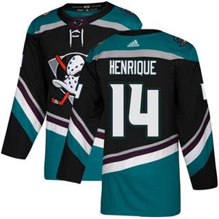 Men's  Anaheim Ducks #14 Adam Henrique Black Teal Alternate  Stitched Hockey Jersey