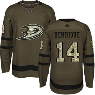 Men's  Anaheim Ducks #14 Adam Henrique Green Salute to Service Stitched Hockey Jersey