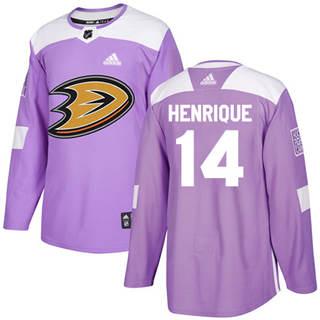 Men's  Anaheim Ducks #14 Adam Henrique Purple  Fights Cancer Stitched Hockey Jersey