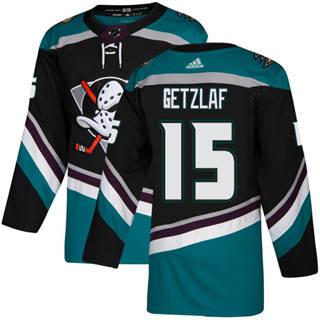 Men's  Anaheim Ducks #15 Ryan Getzlaf Black Teal Alternate  Stitched Hockey Jersey