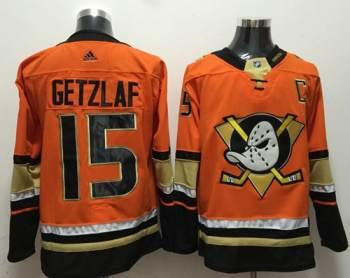 Men's  Anaheim Ducks #15 Ryan Getzlaf Orange  Stitched Hockey Jersey