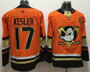 Men's  Anaheim Ducks #17 Ryan Kesler Orange  Stitched Hockey Jersey