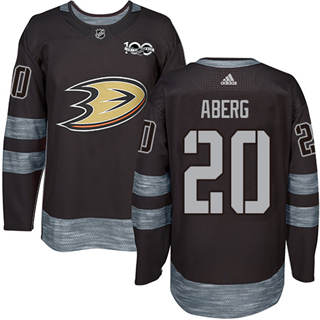 Men's  Anaheim Ducks #20 Pontus Aberg Black 1917-2017 100th Anniversary Stitched Hockey Jersey