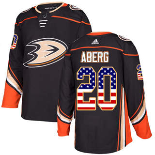 Men's  Anaheim Ducks #20 Pontus Aberg Black Home  USA Flag Stitched Hockey Jersey