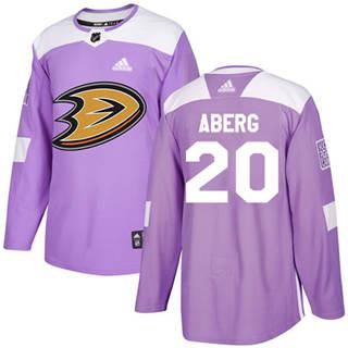 Men's  Anaheim Ducks #20 Pontus Aberg Purple  Fights Cancer Stitched Hockey Jersey