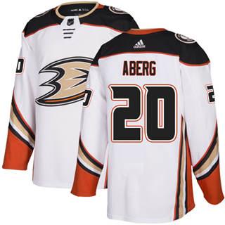 Men's  Anaheim Ducks #20 Pontus Aberg White Road  Stitched Hockey Jersey