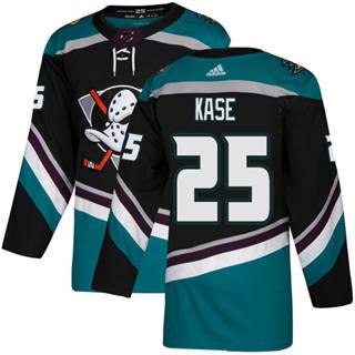 Men's  Anaheim Ducks #25 Ondrej Kase Black Teal Alternate  Stitched Hockey Jersey