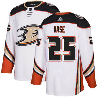 Men's  Anaheim Ducks #25 Ondrej Kase White Road  Stitched Hockey Jersey