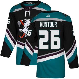 Men's  Anaheim Ducks #26 Brandon Montour Black Teal Alternate  Stitched Hockey Jersey