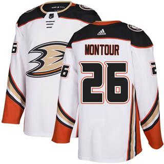 Men's  Anaheim Ducks #26 Brandon Montour White Road  Stitched Hockey Jersey