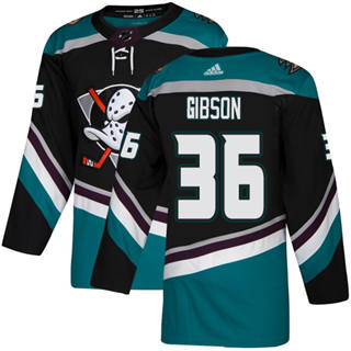 Men's  Anaheim Ducks #36 John Gibson Black Teal Alternate  Stitched Hockey Jersey