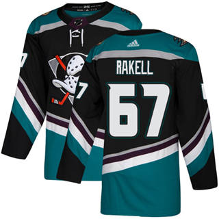 Men's  Anaheim Ducks #67 Rickard Rakell Black Teal Alternate  Stitched Hockey Jersey
