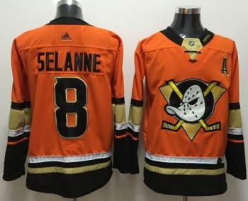 Men's  Anaheim Ducks #8 Teemu Selanne Orange  Stitched Hockey Jersey