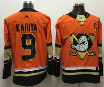 Men's  Anaheim Ducks #9 Paul Kariya Orange  Stitched Hockey Jersey