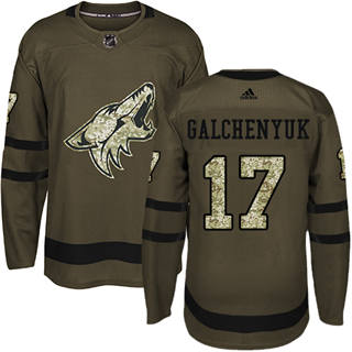 Men's  Arizona Coyotes #17 Alex Galchenyuk Green Salute to Service Stitched Hockey Jersey