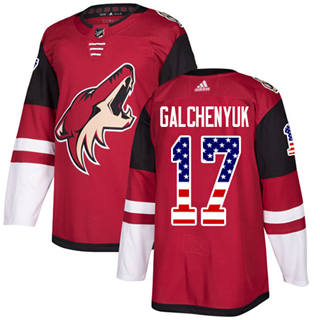 Men's  Arizona Coyotes #17 Alex Galchenyuk Maroon Home  USA Flag Stitched Hockey Jersey