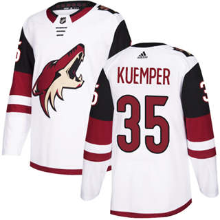 Men's  Arizona Coyotes #35 Darcy Kuemper White Road  Stitched Hockey Jersey