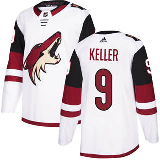 Men's  Arizona Coyotes #9 Clayton Keller White Road  Stitched Hockey Jersey