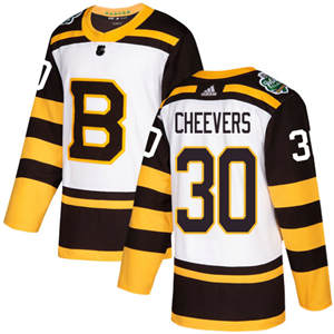 Men's  Boston Bruins #30 Gerry Cheevers White  2019 Winter Classic Stitched Hockey Jersey