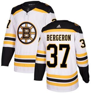 Men's  Boston Bruins #37 Patrice Bergeron White Road  Stitched Hockey Jersey