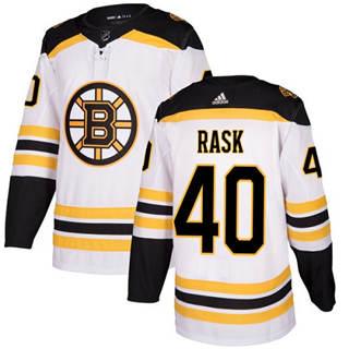 Men's  Boston Bruins #40 Tuukka Rask White Road  Stitched Hockey Jersey