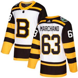 Men's  Boston Bruins #63 Brad Marchand White  2019 Winter Classic Stitched Hockey Jersey