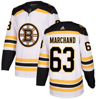 Men's  Boston Bruins #63 Brad Marchand White Road  Stitched Hockey Jersey
