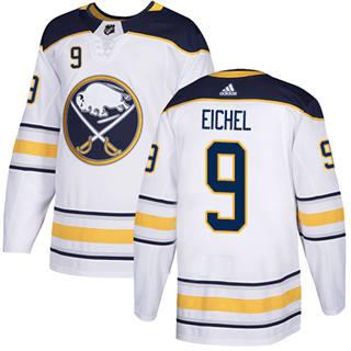 Men's  Buffalo Sabres #9 Jack Eichel White Road  Stitched Hockey Jersey