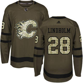 Men's  Calgary Flames #28 Elias Lindholm Green Salute to Service Stitched Hockey Jersey