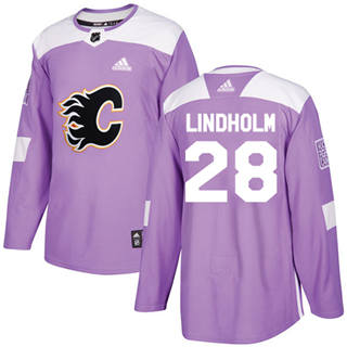 Men's  Calgary Flames #28 Elias Lindholm Purple  Fights Cancer Stitched Hockey Jersey