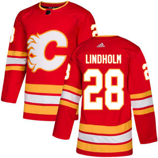 Men's  Calgary Flames #28 Elias Lindholm Red Alternate  Stitched Hockey Jersey