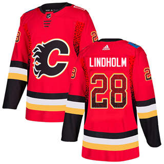 Men's  Calgary Flames #28 Elias Lindholm Red Home  Drift Fashion Stitched Hockey Jersey