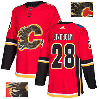 Men's  Calgary Flames #28 Elias Lindholm Red Home  Fashion Gold Stitched Hockey Jersey