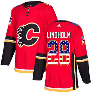 Men's  Calgary Flames #28 Elias Lindholm Red Home  USA Flag Stitched Hockey Jersey